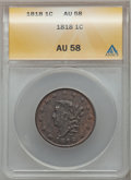 Large Cents: , 1818 1C AU58 ANACS. NGC Census: (53/356). PCGS Population (73/304). Mintage: 3,167,000. Numismedia Wsl. Price for problem f...