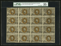 Fr. 1233 5¢ Second Issue Uncut Block of Sixteen PMG Choice Very Fine 35