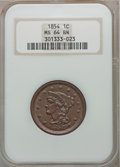 Large Cents: , 1854 1C MS64 Brown NGC. NGC Census: (162/166). PCGS Population(108/42). Mintage: 4,236,156. Numismedia Wsl. Price for prob...