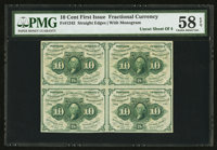 Fr. 1242 10¢ First Issue Block of Four PMG Choice About Unc 58 EPQ