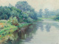 Fine Art - Painting, American:Modern  (1900 1949)  , MABEL MAY WOODWARD (American, 1877-1945). A Quiet River on aGrey Day, Rockport, Massachusetts. Oil on board. 10 x 13-1/...
