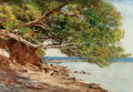 Fine Art - Painting, European:Antique  (Pre 1900), VICTOR PIERRE HUGUET (French, 1835-1902). Coastal Scene. Oilon canvas. 13-3/4 x 20 inches (34.9 x 50.8 cm). Signed lowe...