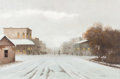 Fine Art - Painting, American:Contemporary   (1950 to present)  , CHARLES SUMMEY (American, 20th Century). A Town Winter. Oilon canvas. 24 x 36 inches (61.0 x 91.4 cm). Signed lower rig...