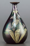 Art Glass:Other , A HARRACH IRIDESCENT GLASS PAINTED VASE. Early 20th century. Marks:(illegible marks to underside). 9-5/8 inches high (24.4 ...