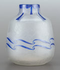 Art Glass:Legras, A LEGRAS ETCHED GLASS AND BLUE ENAMELED VASE. Circa 1920. Marks:LEGRAS. 8-7/8 inches high (22.5 cm). PROVENANCE:. Pro...
