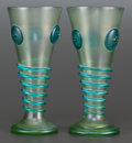 Art Glass:Loetz, A PAIR OF LOETZ GLASS ORPHEUS VASES. Circa 1903. 8-5/8inches high (21.9 cm). PROVENANCE:. Property from the C... (Total:2 Items)