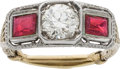 Estate Jewelry:Rings, Art Deco Diamond, Ruby, Gold Ring. ...