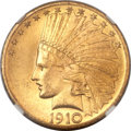Indian Eagles, 1910 $10 MS64+ NGC. CAC....
