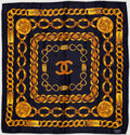 Luxury Accessories:Accessories, Chanel Navy & Gold Silk Scarf . ...