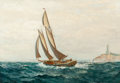 Maritime:Paintings, JAMES GALE TYLER (American, 1855-1931). Rounding theLighthouse. Oil on canvas. 28 x 40 inches (71.1 x 101.6 cm).Signed...