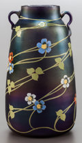 Art Glass, AN AUSTRIAN IRIDESCENT AND FLORAL ENAMEL GLASS VASE. Circa 1900. 9inches high (22.9 cm). PROVENANCE:. Property from the C...