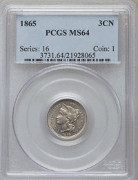 1865 3CN MS64 PCGS. PCGS Population (521/140). NGC Census: (546/151). Mintage: 11,382,000. Numismedia Wsl. Price for pro...