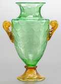 Art Glass:Steuben, A STEUBEN GREEN GLASS POMONA VASE. Circa 1900. 13-3/4 inches high(34.9 cm). PROVENANCE:. Property from the Collection of ...
