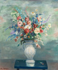 Fine Art - Painting, American:Modern  (1900 1949)  , HELEN ALTON SAWYER (American, 1900-1999). Floral Still Life.Oil on canvas. 30 x 25 inches (76.2 x 63.5 cm). Signed lowe...