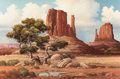 Fine Art - Painting, American:Contemporary   (1950 to present)  , FRANK MOSS HAMILTON (American, 1930-1999). Navajo Land. Oilon canvas. 20 x 30 inches (50.8 x 76.2 cm). Signed and title...