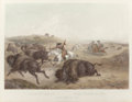 Fine Art - Work on Paper:Print, KARL BODMER (Swiss, 1809-1893). Indians Hunting the Bison, 1839. Etching with aquatint. 22-3/4 x 16-1/2 inches (57.8 x 4...