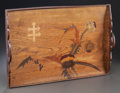 Decorative Arts, French, A GALLÉ MARQUETRY INLAID TRAY. Circa 1900. Marks: EmileGallé. 16-1/4 inches high x 24-1/2 inches wide (41.3 x 62.2cm)...