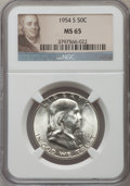 Franklin Half Dollars: , 1954-S 50C MS65 NGC. NGC Census: (4824/398). PCGS Population(3765/212). Mintage: 4,993,400. Numismedia Wsl. Price for prob...
