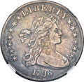 Early Dollars, 1798 $1 Large Eagle, Pointed 9, Close Date XF40 NGC. B-30, BB-116,R.5....
