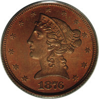 1876 $5 Five Dollar, Judd-1484, Pollock-1637, R.7, PR64 Red and Brown PCGS. Struck with regular issue half eagle dies, b...
