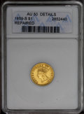 1859-S G$1 --Repaired--ANACS. AU50 Details. A mechanical brush was used to smooth out marks. Both fields and Liberty's c...