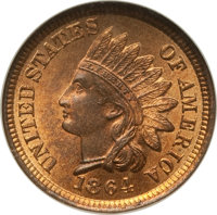 1864 1C Bronze No L MS65 Red and Brown NGC. CAC. NGC Census: (239/73). PCGS Population (202/25). Mintage: 39,233,712. Nu...