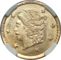 California Fractional Gold: , 1868 25C Liberty Round 25 Cents, BG-806, R.3, MS66 NGC. NGC Census:(21/5). PCGS Population (21/1). ...