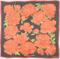 "Luxury Accessories:Accessories, Hermes Coral & Black ""Les Pivoines,"" by Christiane VauzellesSheer Silk Scarf. ..."