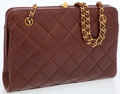 Luxury Accessories:Accessories, Chanel Brown Lambskin Leather Shoulder Bag with Gold CC Clasp . ...