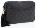 Luxury Accessories:Bags, Chanel Black Quilted Lambskin Leather Clutch with Tassel. ...