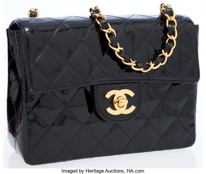 04ba682297aeeb ... Luxury Accessories:Bags, Chanel Black Quilted Patent Leather Mini  Classic Single Flap Bagwith Gold ...