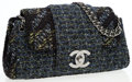Luxury Accessories:Bags, Chanel Runway Black, Green & Blue Tweed Flap Bag with OversizedCC Detail. ...