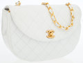 Luxury Accessories:Bags, Chanel White Quilted Lambskin Leather Half-Moon Flap Bag with GoldHardware. ...