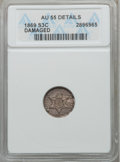 Three Cent Silver: , 1869 3CS -- Damaged -- ANACS. AU55 Details. NGC Census: (2/43). PCGS Population (8/40). Mintage: 4,500. Numismedia Wsl. Pri...