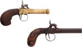 Handguns:Muzzle loading, Lot of Two Boxlock Percussion Pistols.... (Total: 2 Items)
