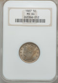 Liberty Nickels: , 1887 5C MS64 NGC. NGC Census: (161/93). PCGS Population (209/131).Mintage: 15,263,652. Numismedia Wsl. Price for problem f...