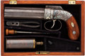 Handguns:Muzzle loading, Cased Allen & Thurber Pepperbox Percussion Revolver....