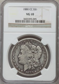 1880-CC $1 VG10 NGC. NGC Census: (20/8283). PCGS Population (26/12211). Mintage: 591,000. Numismedia Wsl. Price for prob...