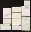 Baseball Collectibles:Others, Baseball Greats Signed Index Cards, Postcards, etc. Lot of 11 - With Cicotte....