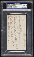 Baseball Collectibles:Others, Sudden Sam Crawford Signed Index Card, PSA/DNA Mint 9. ...