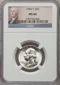 Washington Quarters: , 1954-S 25C MS66 NGC. NGC Census: (2049/286). PCGS Population(917/46). Mintage: 11,834,722. Numismedia Wsl. Price for probl...