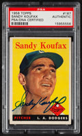 Autographs:Sports Cards, Signed 1958 Topps Sandy Koufax Card #187 PSA/DNA Authentic. ...