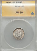 Bust Dimes: , 1830 10C Medium 10C AU50 ANACS. NGC Census: (2/148). PCGSPopulation (9/143). Mintage: 510,000. Numismedia Wsl. Price forp...