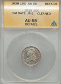 Bust Dimes: , 1828 10C Small Date -- Cleaned -- ANACS. AU55 Details. JR-1. NGCCensus: (4/24). PCGS Population (5/33). Mintage: 125,000....