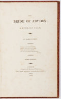 Books:Literature Pre-1900, Lord Byron. The Bride of Abydos [and] The Corsair.London: Murray, 1813-14. Third Edition of Bride of ...