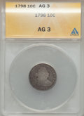 Early Dimes: , 1798 10C Large 8 AG3 ANACS. NGC Census: (0/68). PCGS Population(2/67). Mintage: 27,550. Numismedia Wsl. Price for problem ...