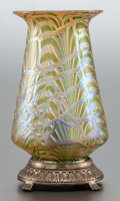 Art Glass, AN AUSTRIAN GLASS LAMP ON METAL BASE. Early 20th century. 9-1/2 inches high (24.1 cm). PROVENANCE:. Property from the Coll...