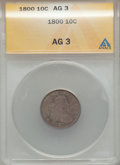 Early Dimes: , 1800 10C AG3 ANACS. NGC Census: (0/48). PCGS Population (4/62).Mintage: 21,760. Numismedia Wsl. Price for problem free NGC...