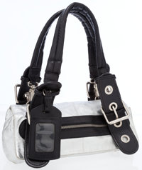 Chloe Black & Silver Metallic Leather Shoulder Bag with Silver Hardware