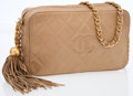 Luxury Accessories:Accessories, Chanel Beige Quilted Lambskin Leather Camera Bag with Tassel Detail. ...